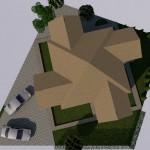 Эскиз дома, вид на крышу